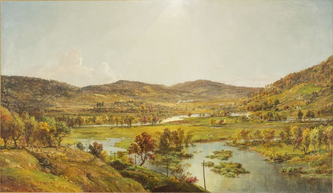 Can you spot the hidden messages in this landscape? 🔍  Here, artist Jasper Francis Cropsey depicts Sidney Plains, an ar…