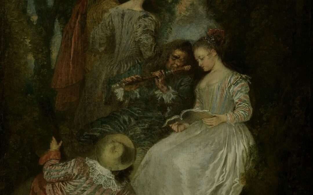 """A joyful collection highlight 🎶  Artist Jean-Antoine Watteau invented and perfected the """"fête galante,"""" a genre of comp…"""