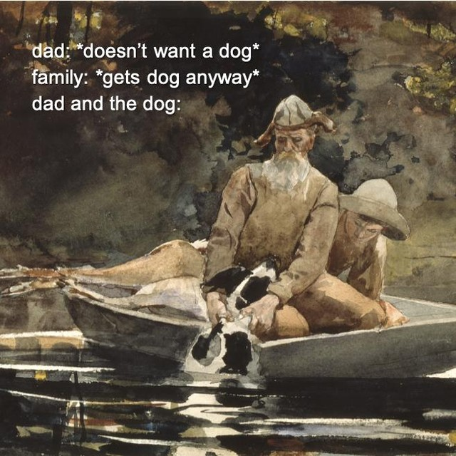 "Happy Father's Day to all fathers and father figures. ❤️ (whether or not they wanted the dog)  Winslow Homer, ""After the…"