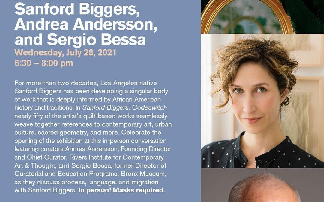 Join us *in-person* this Wednesday (7.28) from 6:30-8pm for In Conversation: Sanford Biggers, Andrea Andersson, and Serg…