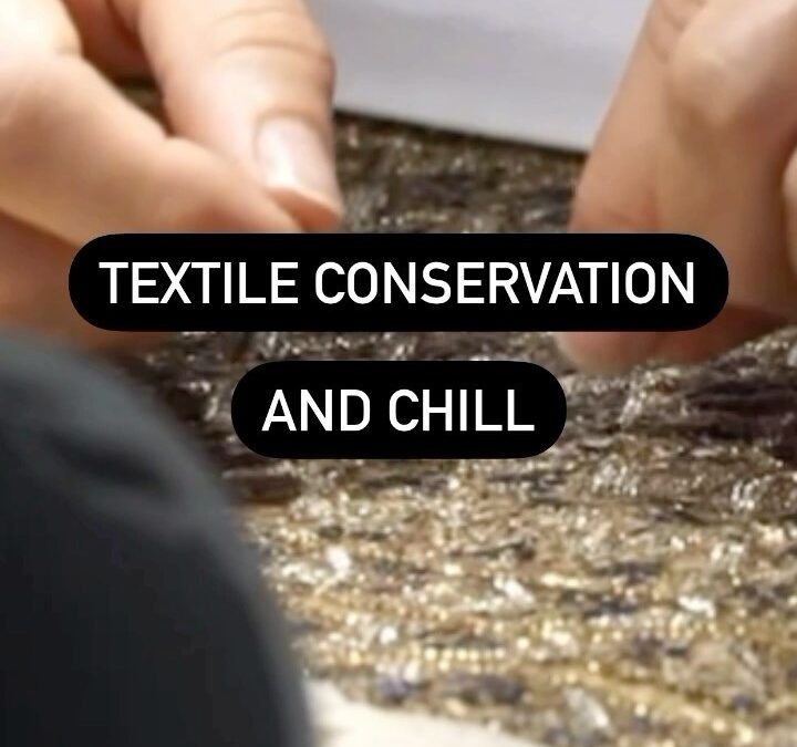 Chill out with some relaxing textile conservation 💭  See how LACMA conservators sourced beetle wing sequins and lovingl…